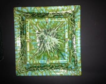 Freeman McFarlin Original Mid Century Green Blue square ashtray