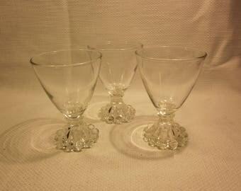 3 glass cordials, dessert/sherbet bowls, candlewick base