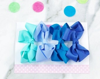 Gift Set of 4 mini boutique bows in Cool Blues