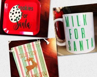 Cookies for Santa plate - Cookies and milk for Santa - Christmas traditions - reindeer treats - cookies for santa - milk for santa -