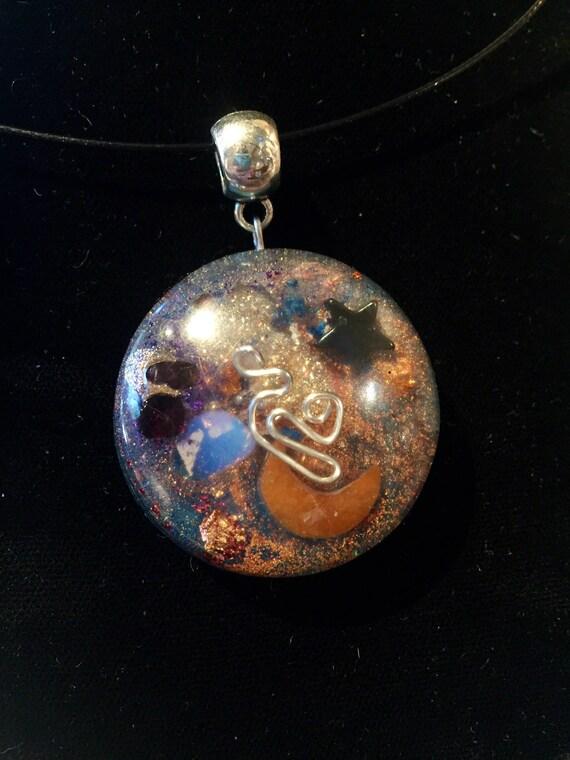 Pagan Magik Orgonite® Talisman- Elemental Energy Orgone Pendant- Alchemy- Witches Orgonite®-Luna Lavender Psychic Energy Enhancement Oronge