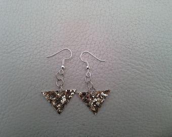 Gold glittery leather earrings