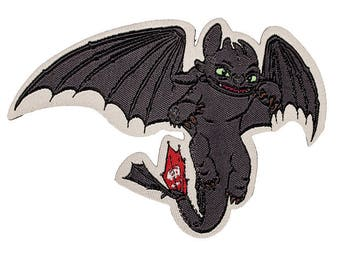 Patch / patch - Dragon Taming dragons toothless - grey - 9, 3 x 6, 4 cm - patch application applications to the iron application patches patch