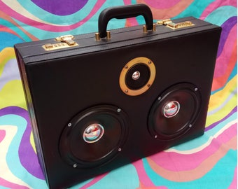 Briefcase Boom Box Retro Battery Speaker Portable MP3 Laptop Phone Suitcase Wasted Fashion