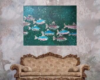 Textured salmon art original impasto fish artwork green gold large painting 48x36