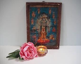 Beautiful Vintage Antique Hindu Vishnu Indian God Goddess Framed Holy Devotional Puja Print Shrine Picture Art Lithograph