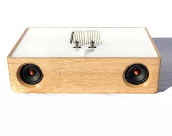 Bluetooth Speaker - REDONDO - Wireless - Mini Vacuum Tube High End Audio - Vintage Midcentury Modern - Oak Hard Wood