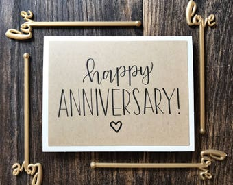 Set of 5 Happy Anniversary Cards with Small Heart - Handmade Rustic Calligraphy Cards - Rustic Kraft Paper Overlay