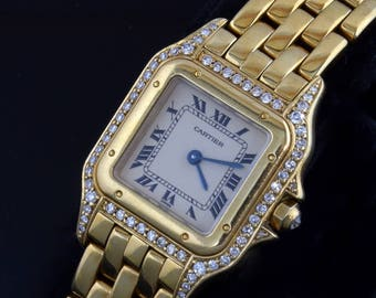 Beautiful Ladies Cartier 18kt Gold & Steel , diamonds  Panthere with Cartier Box and papers
