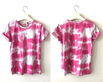 "Pink tie dye t-shirt S / M ""Keely"" vintage 90s t-shirt, Acid wash T-shirt, hipster festival grunge Retro 90s indie dip dye tee, us size 8 10"