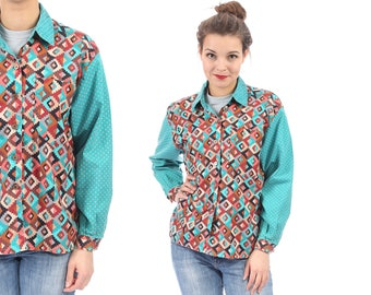 Tribal Shirt 80s Patchwork Style Button Up Blouse Aztec Southwest Print Geometric Vintage Boho Hippie Long Sleeve Blue Brown Grunge Medium