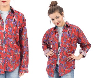 Red Western Shirt 80s Floral Paisley Cowboy Blue Purple Button Up 1980s Vintage Hipster Long Sleeve Blouse Rockabilly Cotton Shirt sz Medium