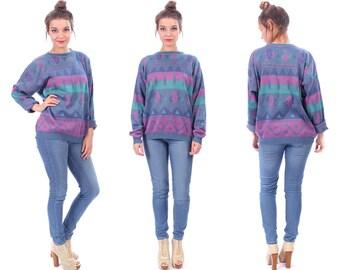 Vintage Aztec Sweater 90s Unisex Tribal Jumper Women Purple Blue Pink Knitwear Geometric Crew Neck Tribal 1990s Slouchy Large