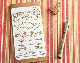 Bullet Journal Stencil #C19 - Planner, Journal, Craft, Scrapbooking, Decoration