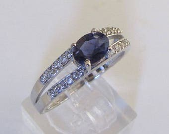 Silver Iolite and Zircon ring T 52