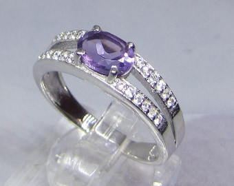 Ring Sertie 4 claws silver and Amethyst size 56