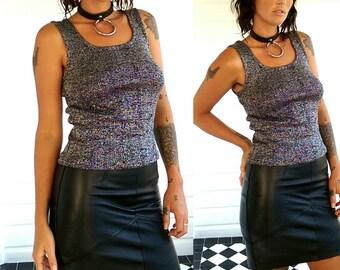 Silver lurex sparkle tank crop top 70s 80s 90s glam disco goth club grunge shimmer designer Leon worth glitter