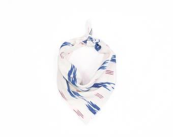 Red White & Blue Ikat Small Dog Bandana // Scarf // Neckerchief // Neck Tie