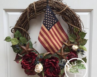 Patriotic Wreath, Rustic Wreath, Americana Wreath, Front Door Wreath, Flag Wreath, 4th Of July Wreath, Memorial Day Wreath, Door Wreath