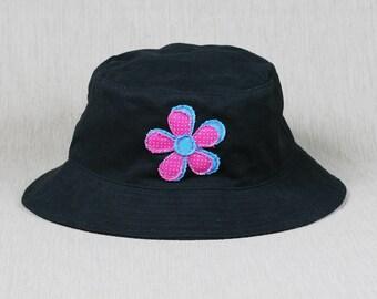 Ladies Black Bucket Hat with handmade flower decal