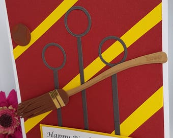 Personalised Quidditch Hogwarts Harry Potter Birthday Card Gryffindor Hufflepuff Ravenclaw Slytherin Handmade Kids Adults BD48