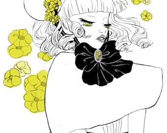 Yellow Flowers Lolita Print: 4.5x6 Post Card
