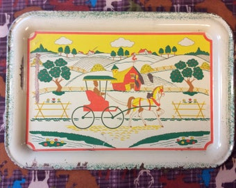 Tin Serving tray / Horse &  Buggy