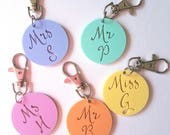 Personlised Teacher Keyring Mr-Miss-Mrs-Ms-bag tag-Christmas gift-teacher gift-kris kringle-thank you gift-personalized