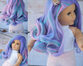 """Custom Doll Wig for 18"""" American Girl Doll  - Heat Safe - Tangle Resistant - fits 10-11"""" head circumference of any doll Doll Wig Unicorn Wig"""