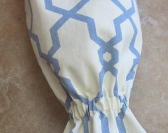 Grocery Bag Holder/Trash Bag Holder/Plastic Bag Holder/Blue & Ivory Geo / Organize Neaten Kitchens/Bathrooms/Campers Great Gift Handmade