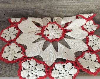 Vintage Crochet Doily Round Red and White Crochet Doily