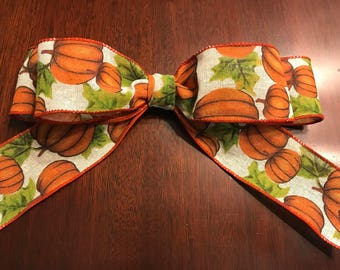 Pumpkin, Fall, Thanksgiving, Interchangeable Bow, Year round, Holidays, Occasions, Seasons, Customizable