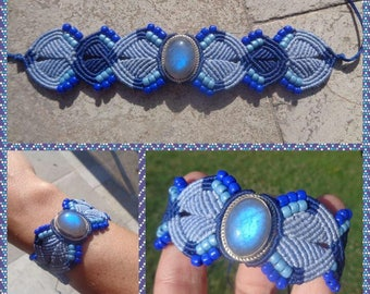 Woven macrame labradorite sertien 925 silver bracelet