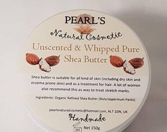 Handmade Homemade Fresh Whipped Refined Organic Unscented Shea Body Butter, Vegan