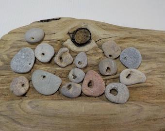 15 Small/Tiny Naturally Holed Beach Stone-Lovely Hag Stone-Beach Rock With Natural Hole-Beach Stone Pendant-Odin Stone Talisman #184