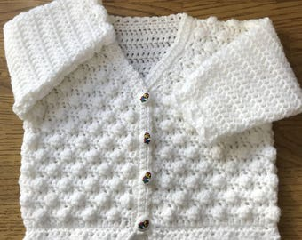 Printed Baby Crochet Bobble Cardigan Pattern in DK. Sizes Birth to 6 years (1029)