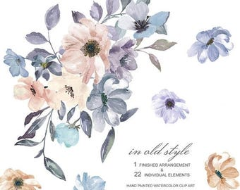40% off SALE Dusty Blue Purple & Ivory Watercolor Floral Arrangement Clipart Separate Elements Hand Painted Commercial Use| S35 In Old Style