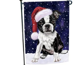Amazing Let It Snow Christmas Holiday Boston Terriers Dog Wearing Santa Hat Garden  Flag 12 1/