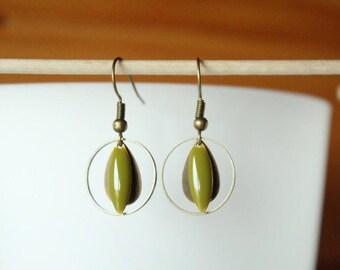 Bronze drop earring and sequin shuttle khaki Green