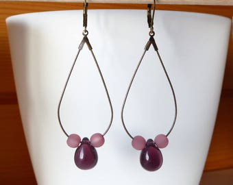 Earrings drop and pearl purple amethyst