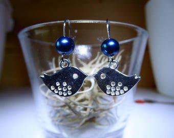 Bird and blue bead for little girl earrings