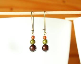 Earrings pearls magic khaki brown orange
