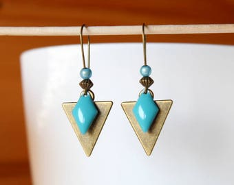 Bronze sequins Blue diamond and triangle earrings