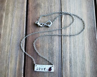 Silver Banner Necklace, Stamped Necklace,  Custom Stamped Necklace, Birthstone Necklace, Love Necklace, Peace Necklace, Namaste Necklace.