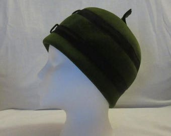Mid-Summer Sale 20%OFF Green Felt Peck and Peck Cloche Hat