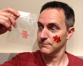 Jigsaw Puzzle Piece Prosthetic, Horror SFX make-up, Halloween Funny Injury Appliance