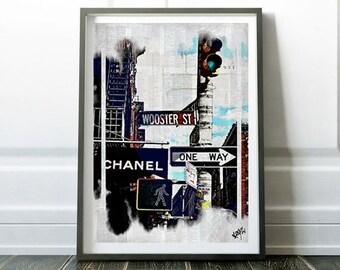 New York -Collage, streetart, Manhattan, fineart, contemporany, modern, watercolor,giclee, vintage, decor, print,poster,interior design-