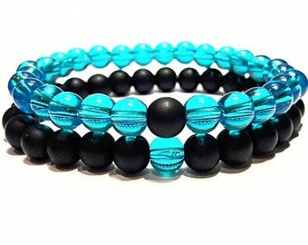 long distance relationship bracelets friendship his and her jewelry matching couple bracelets blue black boyfriend girlfriend beaded stretch