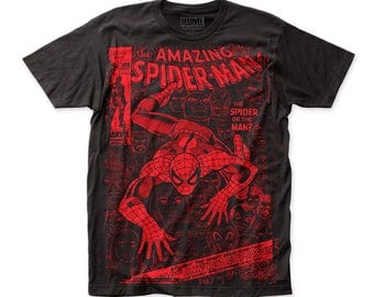 Spider-Man Spider Or The Man Men's Soft 30/1 Cotton Subway Tee (SUBSM06) Black