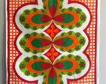Vintage Tea Towel, Scandi, flower power, folk art, screen printed cotton, as new